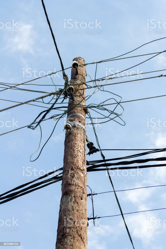 pole for electric wires stock photo