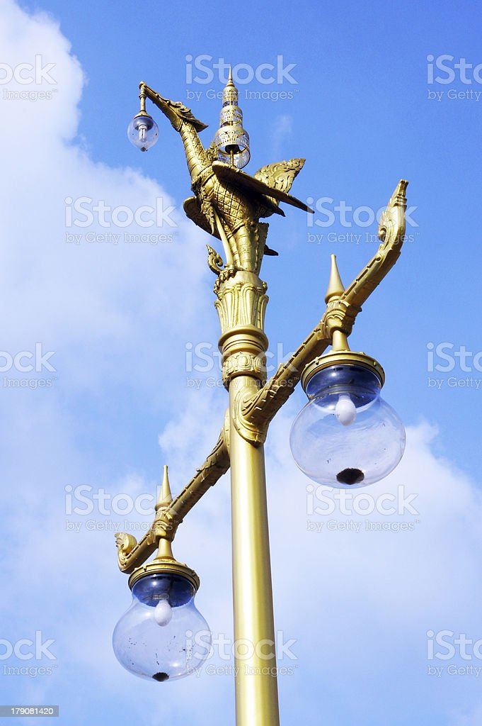 pole light  in wat sothon worawiharn stock photo
