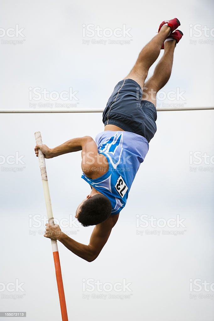 Pole Vault attemp stock photo