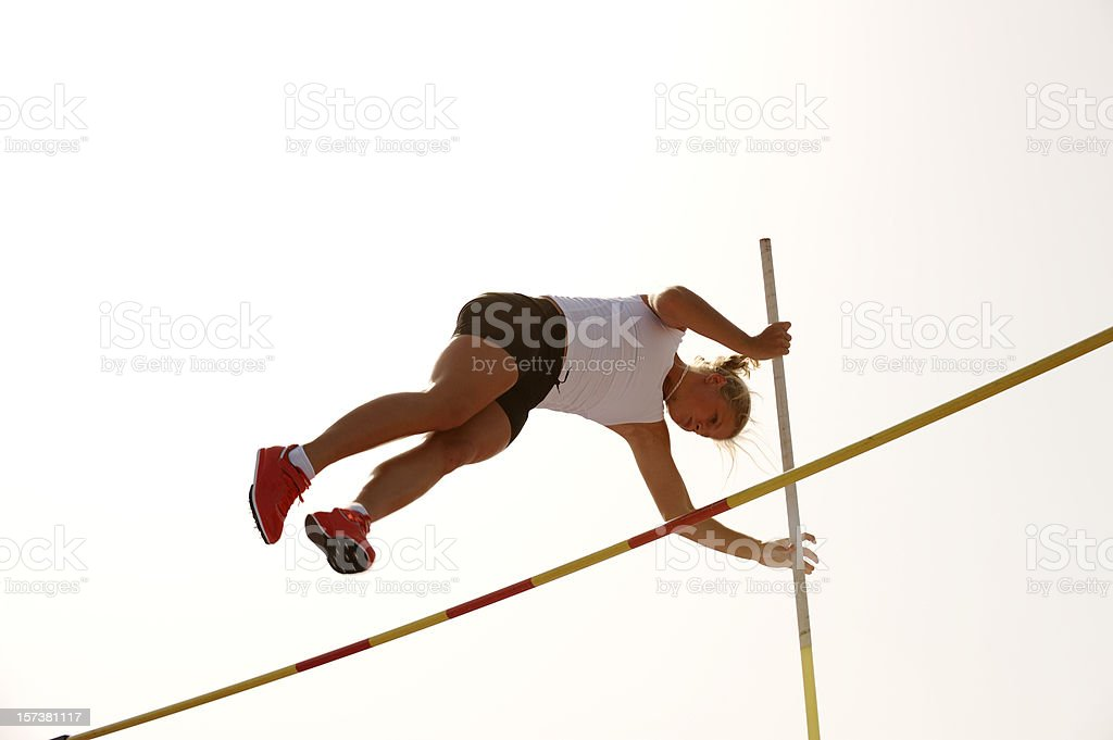 Pole Vault competition stock photo