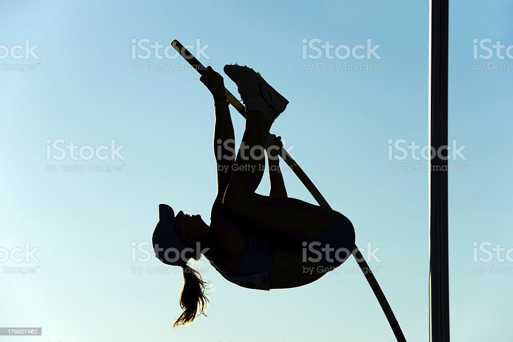 Pole Vault silhouette stock photo