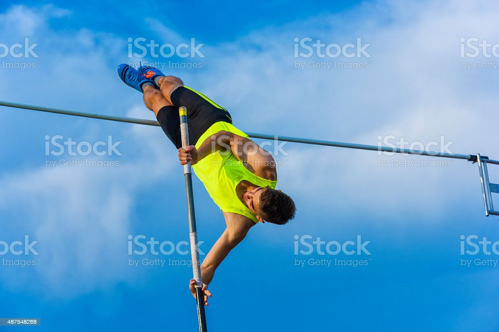 Pole Vault successful attemp stock photo