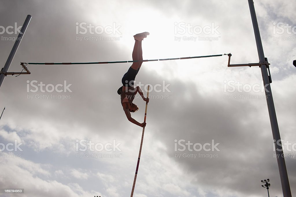 Pole vaulter royalty-free stock photo