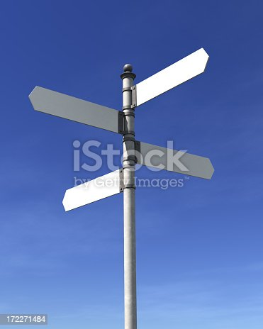 Blank signpost with four arrows over blue sky - just add your text.