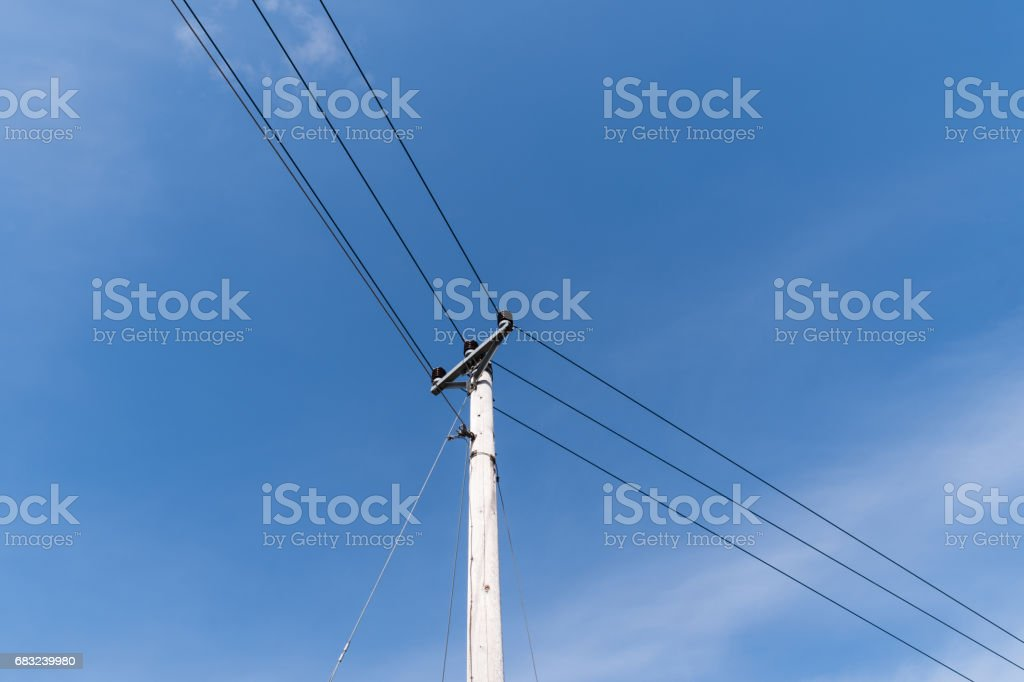 Pole with powerlines 免版稅 stock photo