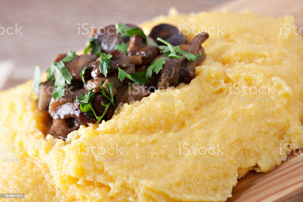 Polenta with mushrooms stock photo