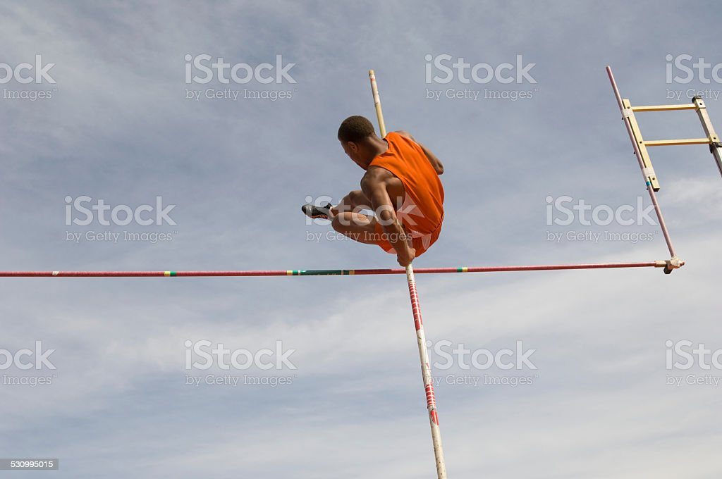 Pole-vaulter stock photo