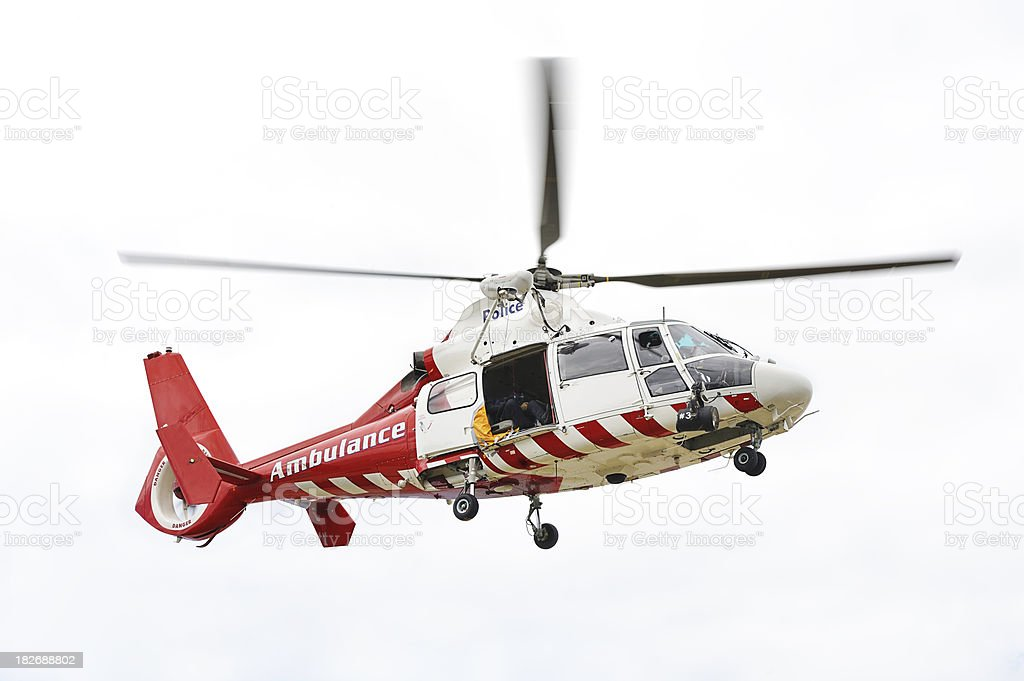 Police Ambulance Helicopter Airborne stock photo