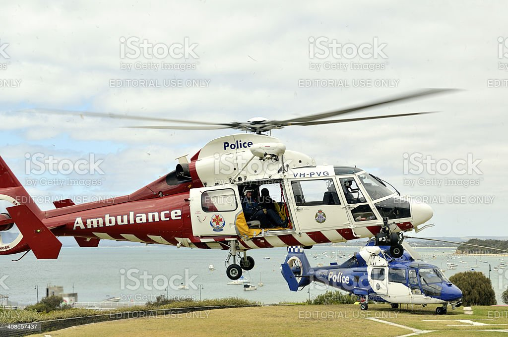 Police and ambulance helicopters at Sorrento, Victoria. stock photo