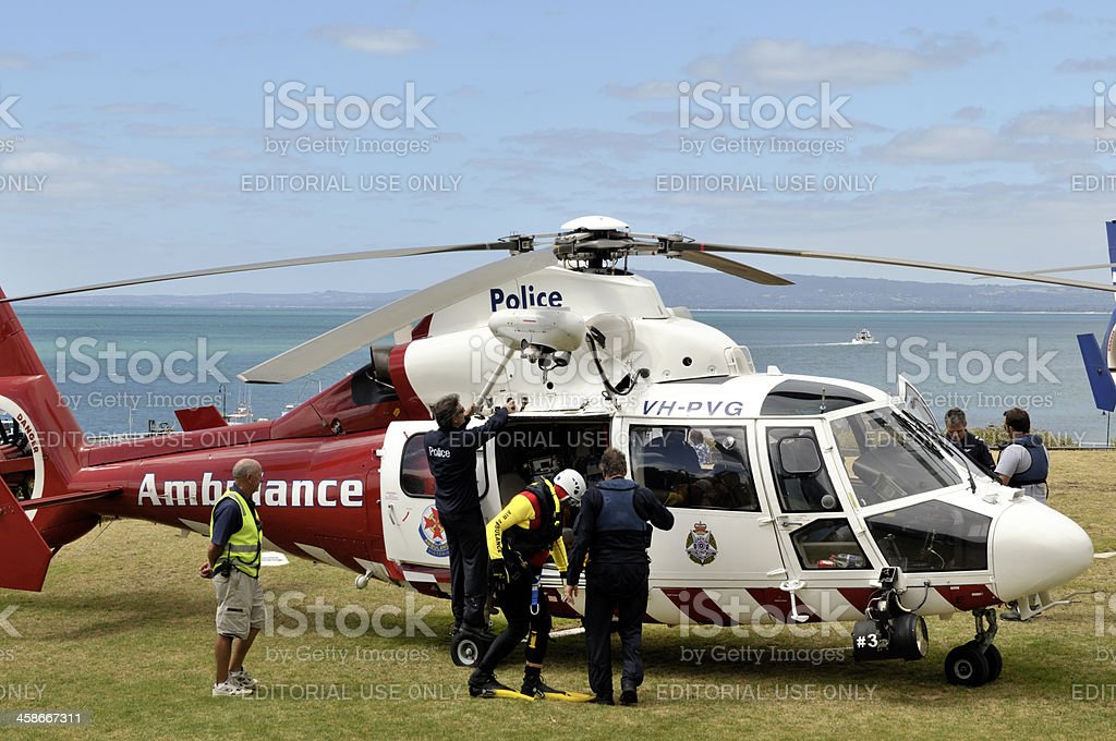 Police and ambulance staff with helicopter in Melbourne, Australia. stock photo