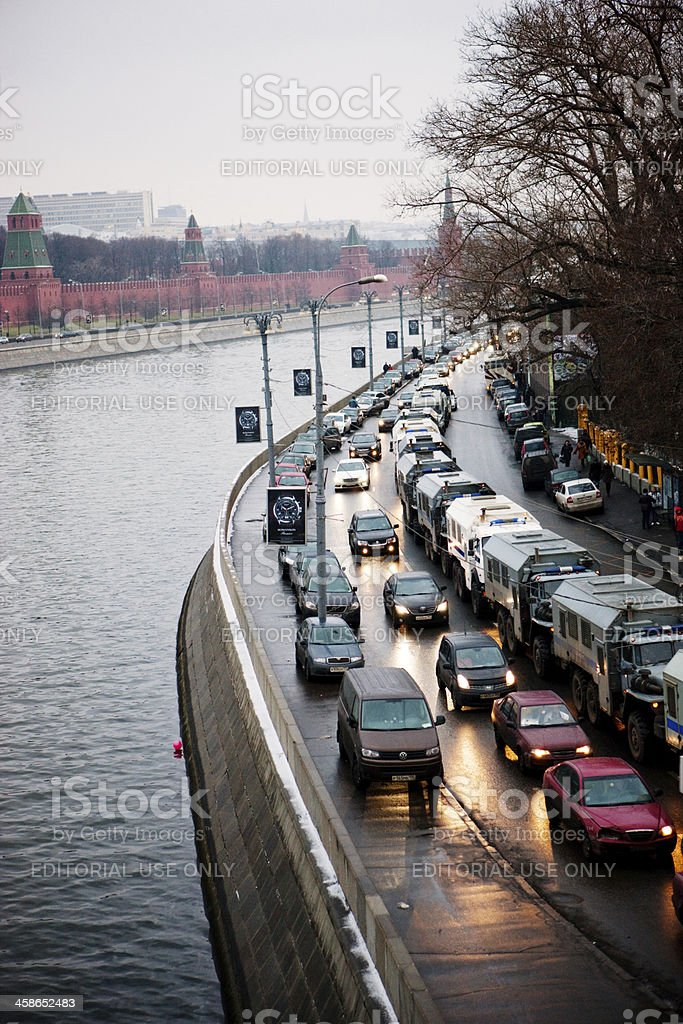 Police and Army cars around Kremlin in Moscow center royalty-free stock photo