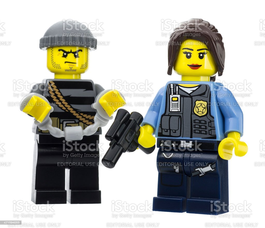 Police and Arrested Thief Lego Mini Figures royalty-free stock photo