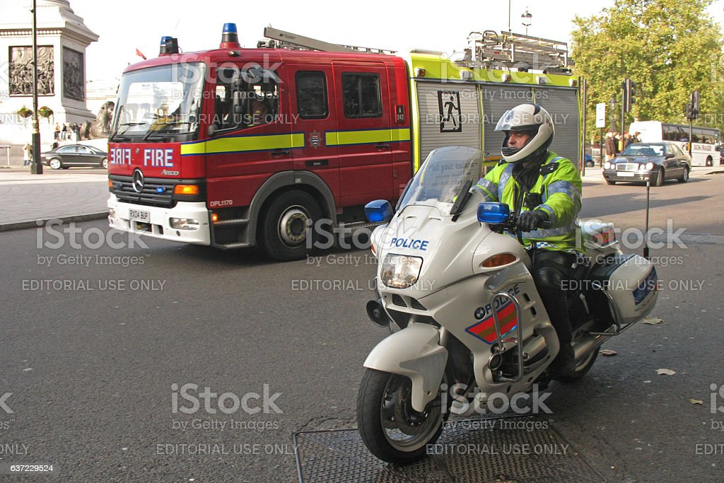 Police and fire brigade in London center stock photo