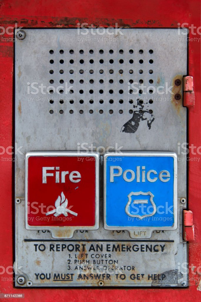 Police And Fire Emergency Call Box Stock Photo - Download Image Now