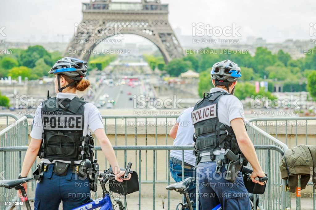 Police at Eiffel Tower stock photo