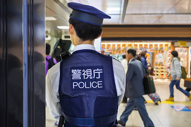 Police at Tokyo Station stock photo