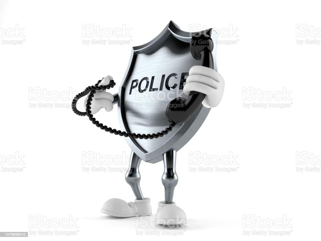 Caráter distintivo de polícia segurando um telefone - foto de acervo