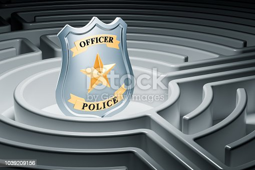 istock Police badge inside labyrinth maze. 3D rendering 1039209156