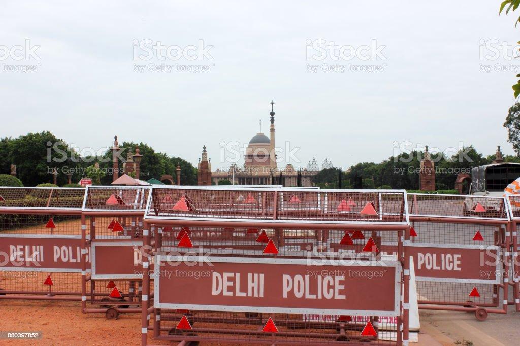 Police barricading in front of Rashtrapati Bhavan (President House) in New Delhi, India stock photo