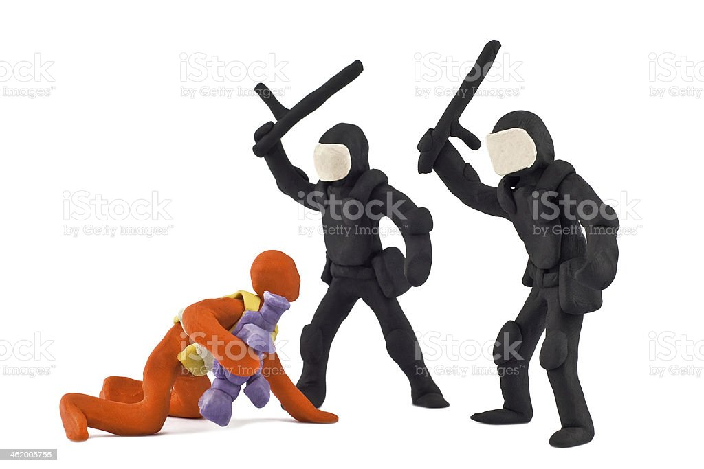 police beat reporter stuck together from plasticine stock photo