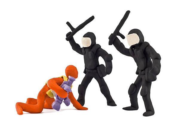 police beat reporter bloqué ensemble de la plasticine - camera sculpture photos et images de collection