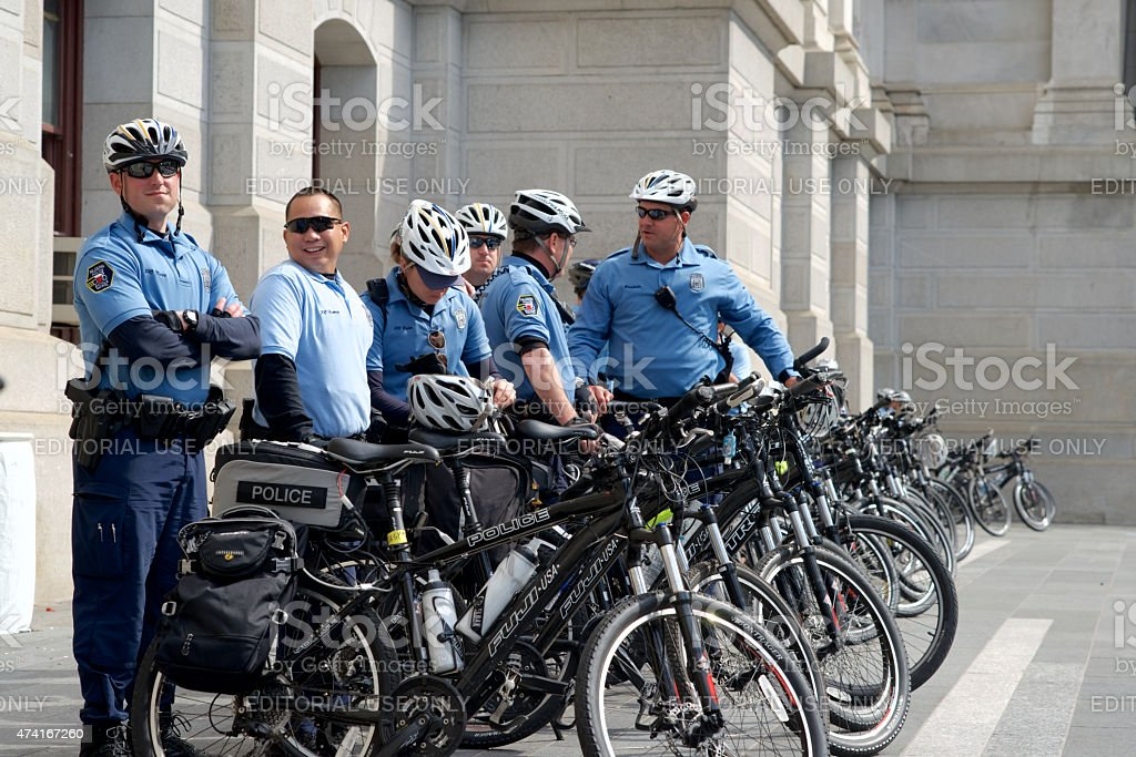 Police Bike Patrol Unit stands by at Protest stock photo
