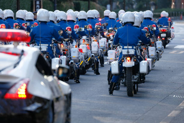 Police bike troops protecting the city January 11, 2019 At the Jingu Gaien in Tokyo The riot police inspection ceremony of the Metropolitan Police Department was held trooper stock pictures, royalty-free photos & images