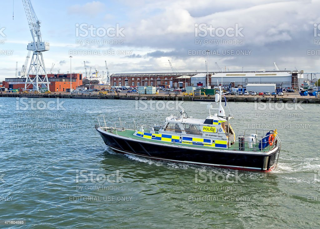Police boat in Portsmouth Harbour royalty-free stock photo