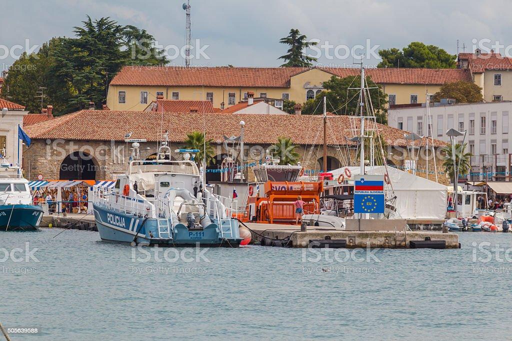 Police boat. stock photo