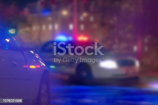 US police car at night.