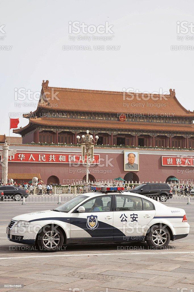 Police Car at Tiananmen Square, Beijing, China stock photo