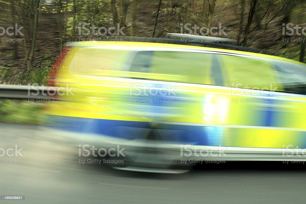 U.K Police Car Blur stock photo