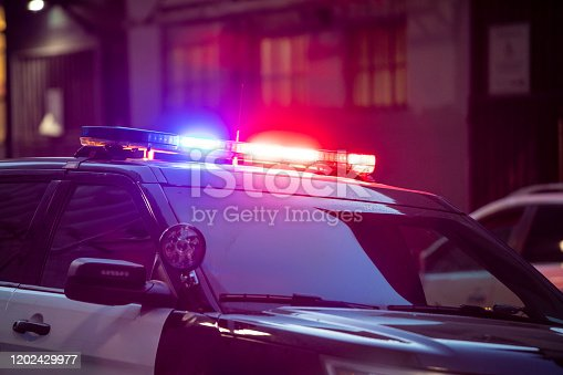 High quality stock photo of a police siren light on the street in San Francisco.