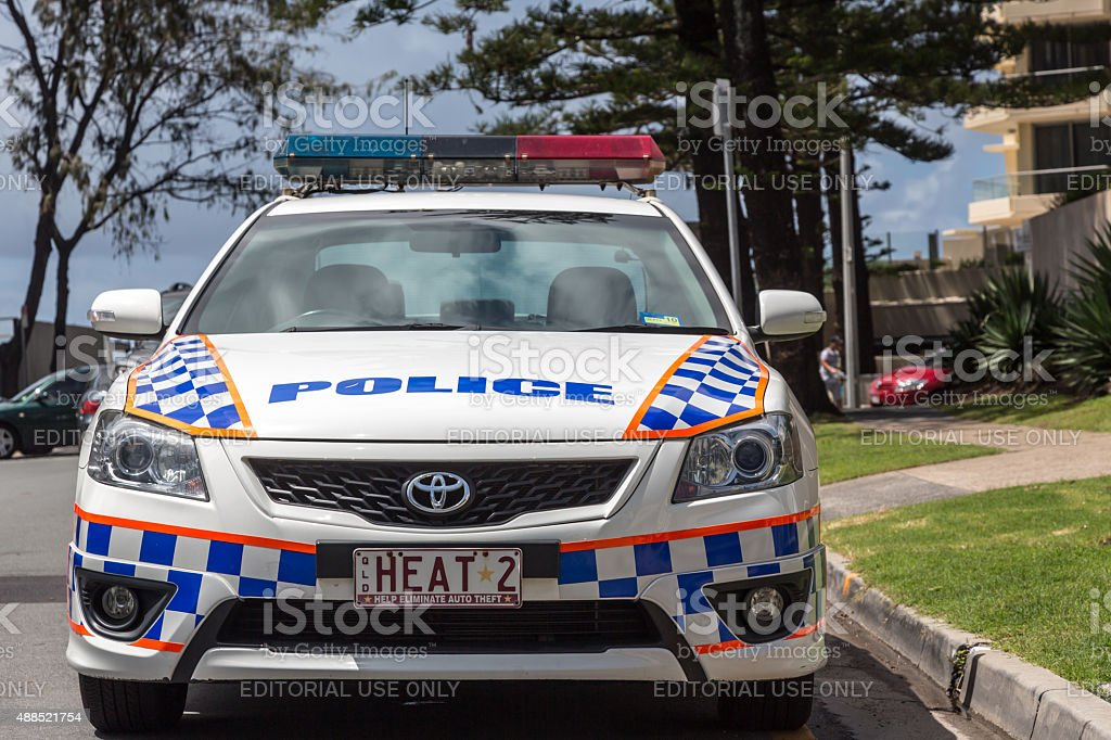 Police Car in Broadbeach on the Gold Coast of Australia stock photo