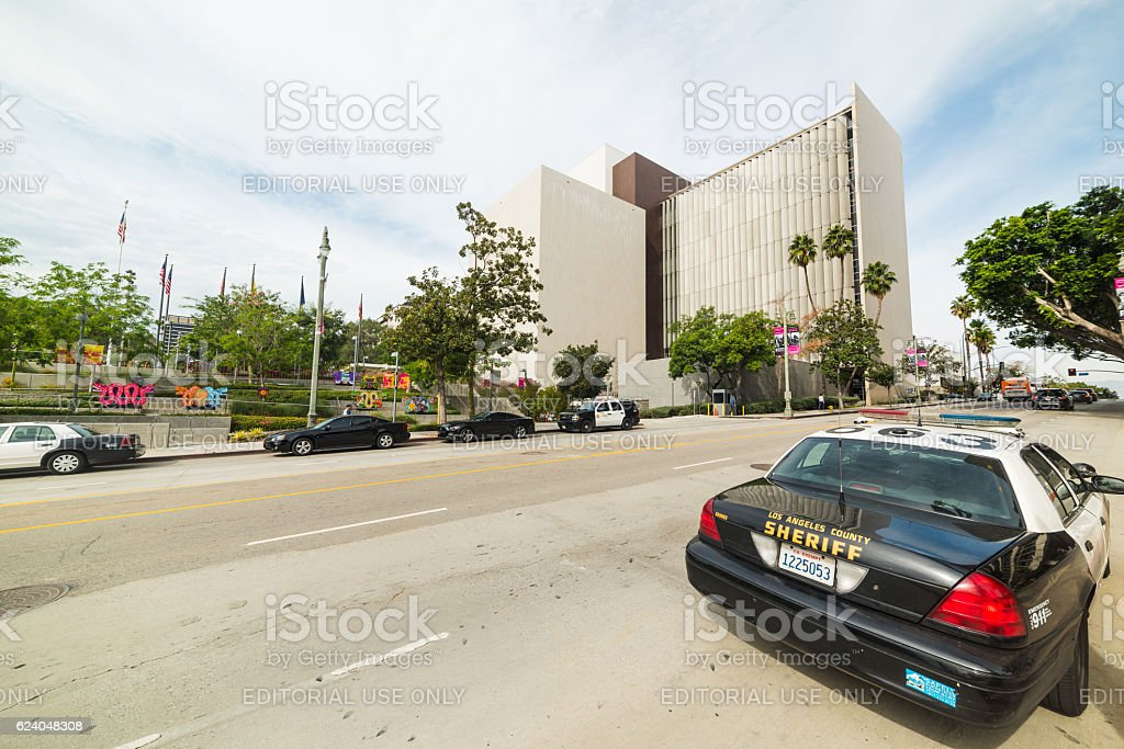 Police car in downtown Los Angeles stock photo
