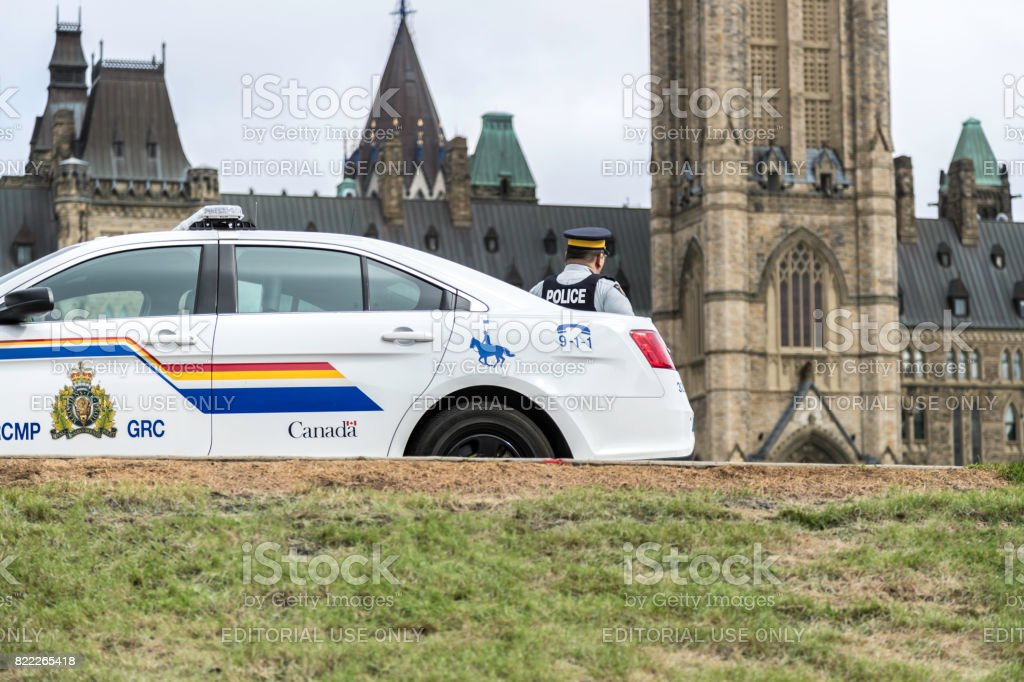 RCMP Police Car in front of Canadian Parliament, Ottawa stock photo
