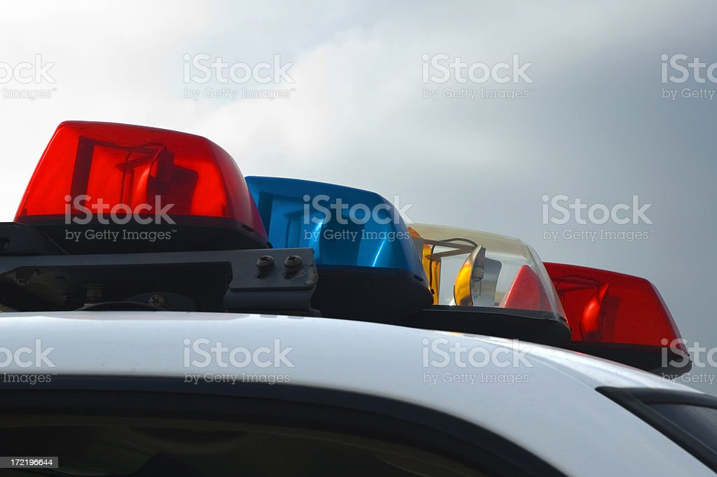 Police Car Lights Close-up stock photo