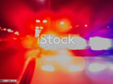 istock Police car lights in night time for crime news and accidents. Crime scene, night patrolling the city. Abstract blurry image. 1066179408
