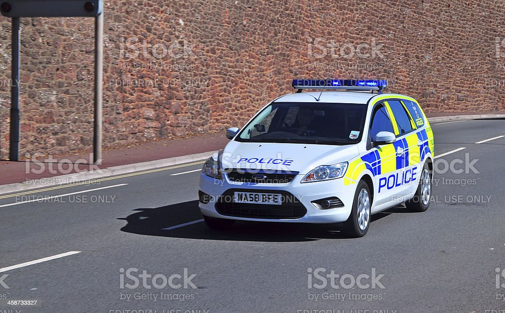 Police Car on a 'Shout' stock photo