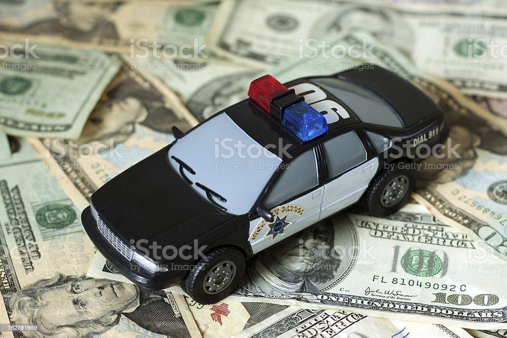 Police Car on Cash stock photo