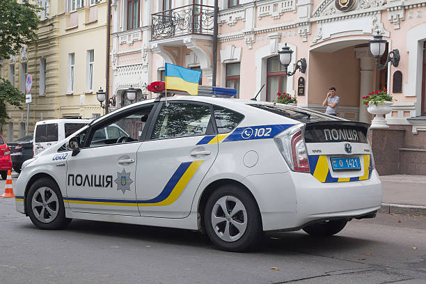 Police car on the street of the city. Kiev, Ukraine stock photo