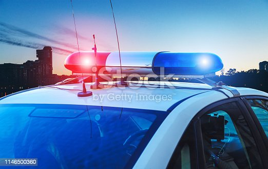 police car on the street close up