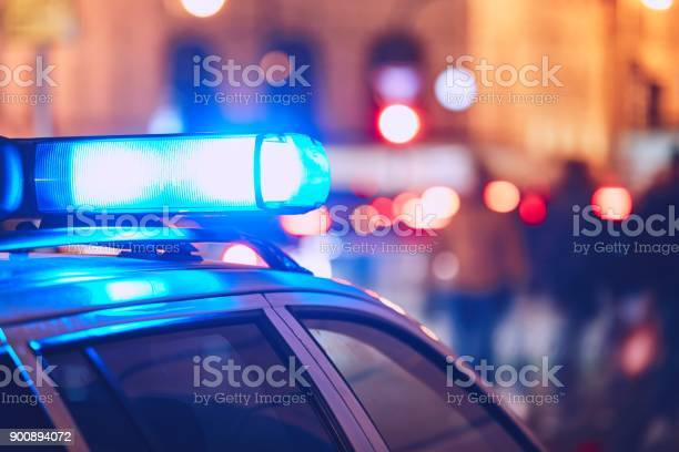 Police Car On The Street Stock Photo - Download Image Now