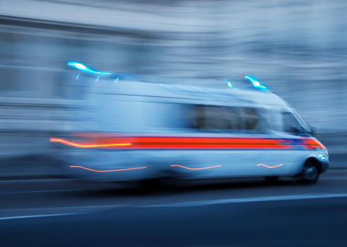 istock Police Car or Ambulance Speeding, Blurred Motion, London, England 171145323