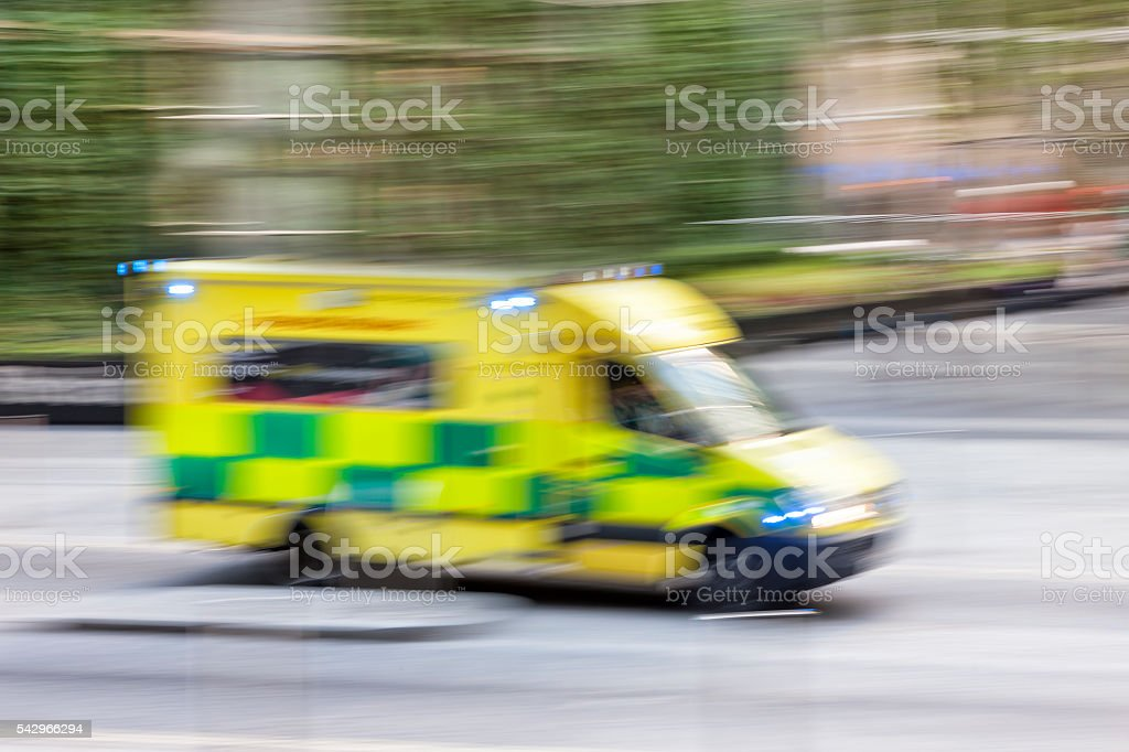 Police Car or Ambulance Speeding, Blurred Motion, London, England stock photo