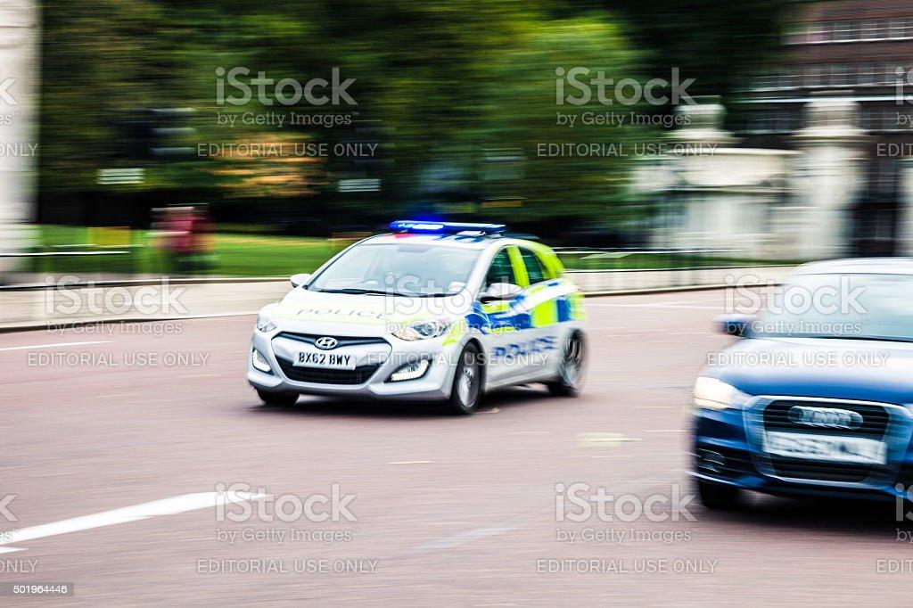 Police car panning stock photo