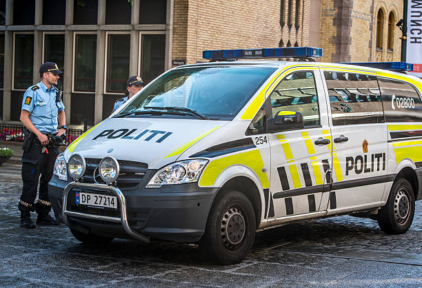 Police car parked in Oslo city center stock photo