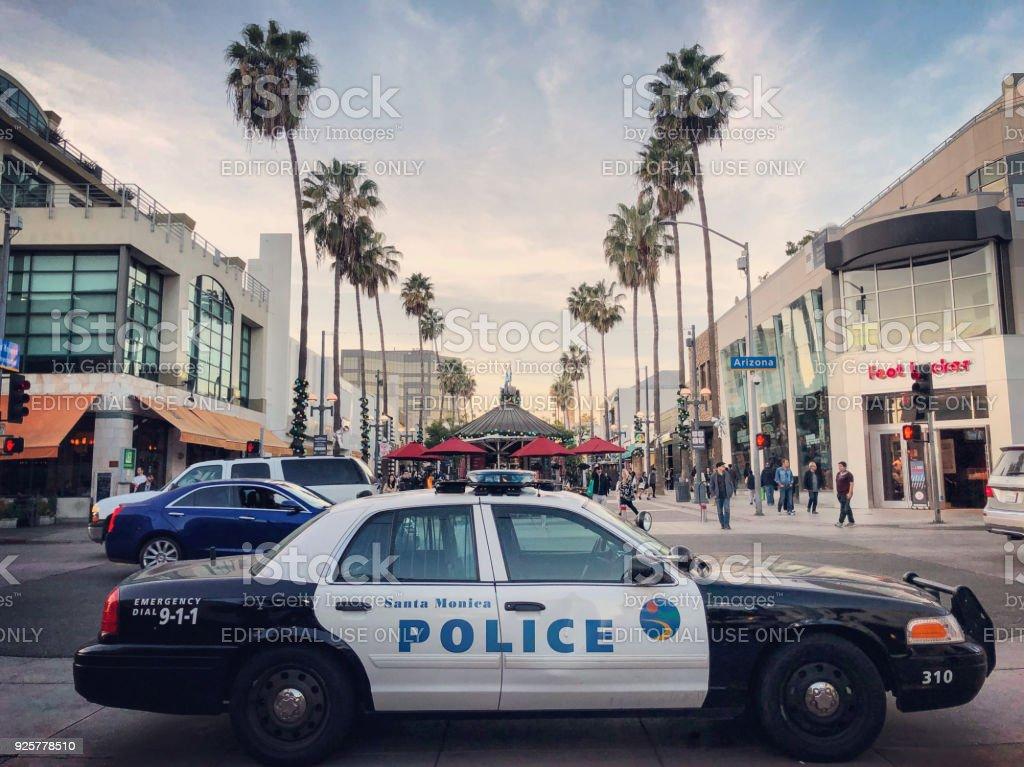 Police car parked on Third Street Promenade, Santa Monica, California, USA stock photo