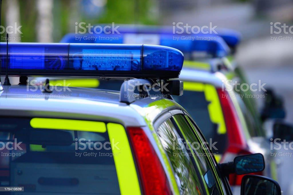 Police car reflecting evening light stock photo