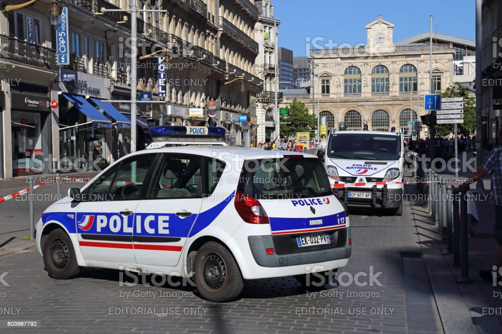 Police cars blocking the road in Lille, France stock photo